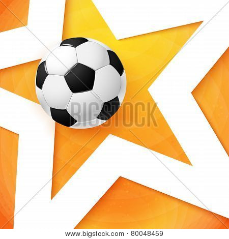 Soccer football poster. Bright orange background, white star and