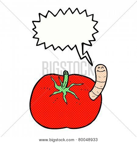 cartoon worm in tomato