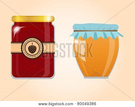 vector set of jam and honey