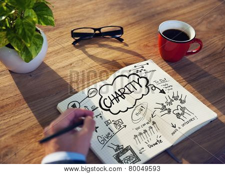 Working Notepad Give Help Donate Volunteer Charity Concept