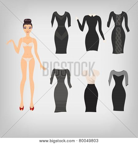 Vector Cute Simple Dress Up Paper Doll With An Assortment Of Cla