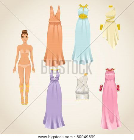 Vector set of greek goddess dresses