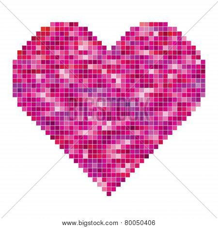 vector heart made of pixels