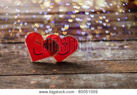 Two Red Valentine Hearts Smily And Hug