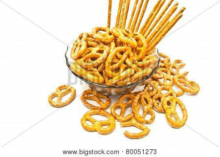 Breadsticks And Salted Pretzels On A Plate