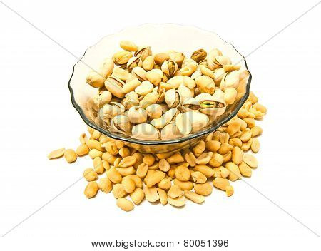 Dish With Roasted Pistachios And Peanuts