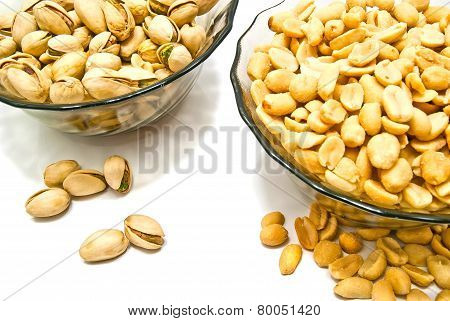 Two Dish With Nuts On White