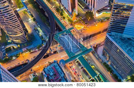 Aerial view of Bangkok central business center