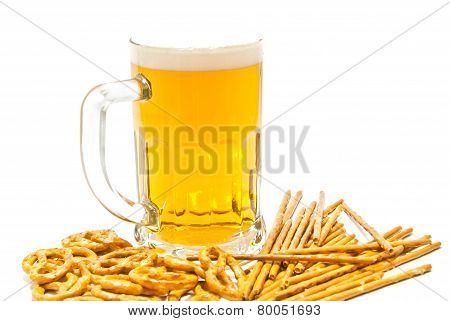 Breadsticks, Pretzels And Light Beer Closeup