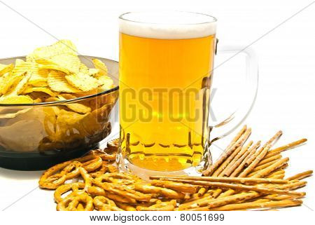 Pretzels, Breadsticks, Chips And Beer