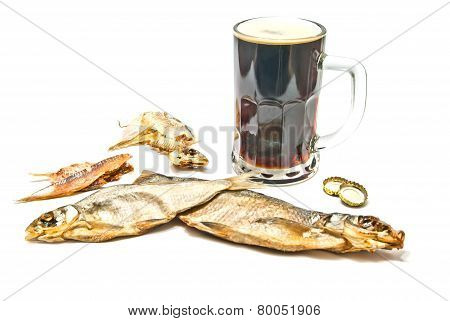Dark Beer And Stockfish Closeup