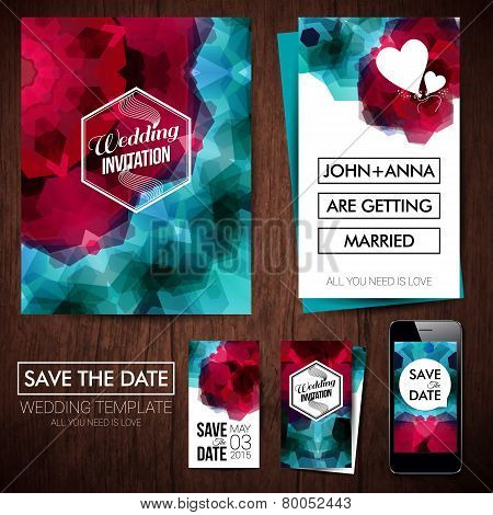 Save the date for personal holiday. Set of wedding invitation ca