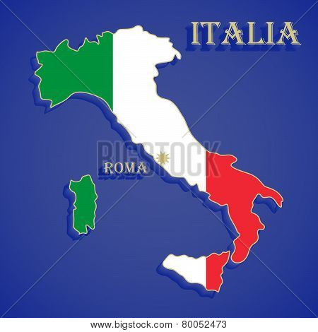 Map Flag Of Italy