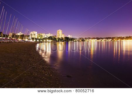 Perth city beach and boats at night