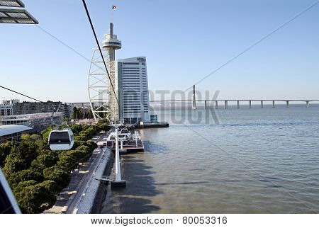 Building In The Form Of Sail And Vasco Da Gama Bridge Over The River Tagus, Lisbon