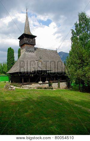 Monastery Dragoslavele. Traditional wood church from Romania.