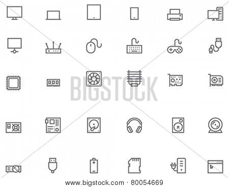 Set of the simple computer related glyphs