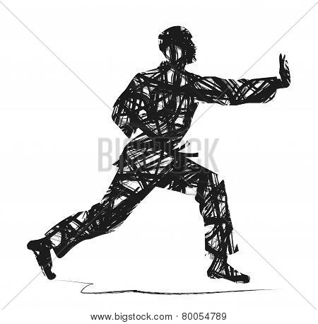 abstract Judo silhouette