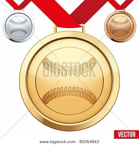 Gold Medal with the symbol of a baseball inside