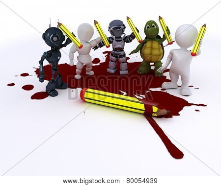 3D render of a cartoonist men with pencils and blood