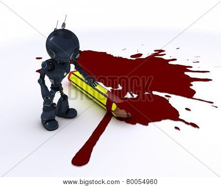 3D render of a cartoonist android with pencil and blood