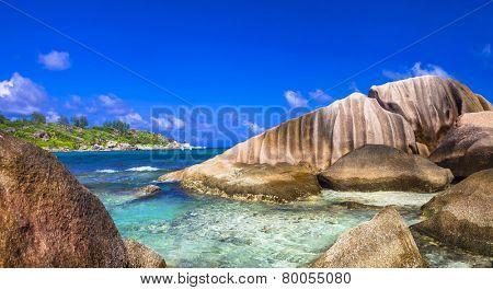 scenery of Seychelles island. La digue