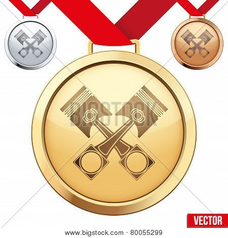 Gold Medal with the symbol of pistons inside