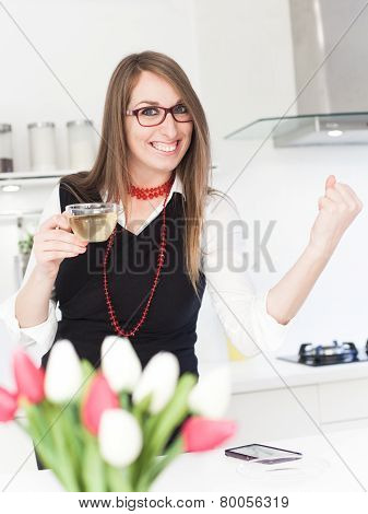 Business Woman Drinking Tea