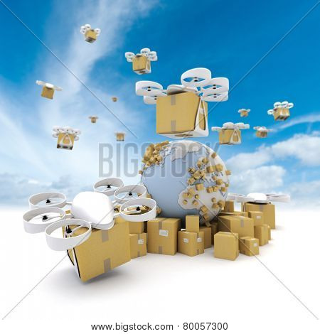 3D rendering of the Earth surrounded by boxes and a network of flying drones with packages attached