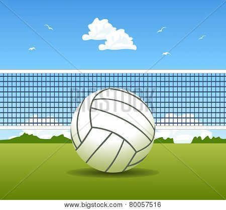 Vector Illustration Of Volleyball Ball And Net