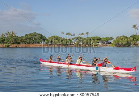 Women's Outrigger Canoe Team Practice
