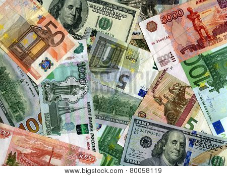 Background. Euro, Us Dollars And Russian Rubles