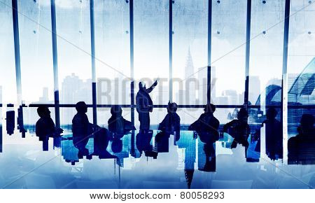 Business People silhouette Working Conference Urban Scene Concept