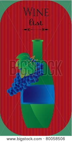 Green bottle of wine , red striped background