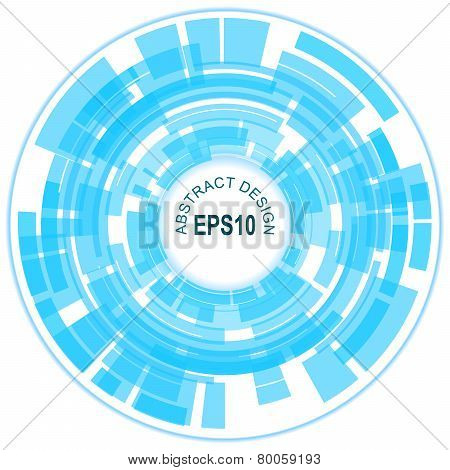 Abstract Blue Technology Circles, Vector Background