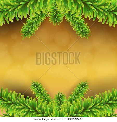 Christmas Card. Winter Background With Spruce Twigs. Vector Illustration.