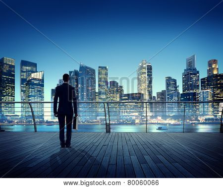 Businessman Corporate Cityscape Urban Scene City Building Concept