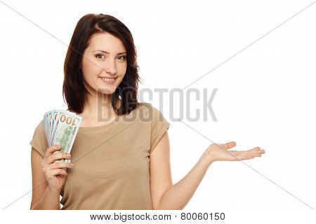 Woman with us dollar cash