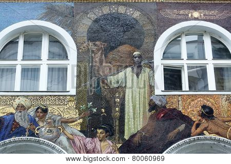 VIENNA, AUSTRIA - OCTOBER 10: Mosaics Facade, Karntnerstrasse 16 in Vienna, Austria on October 10, 2014.