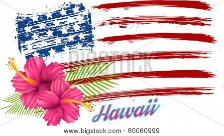 Usa Flag With Hibiscus
