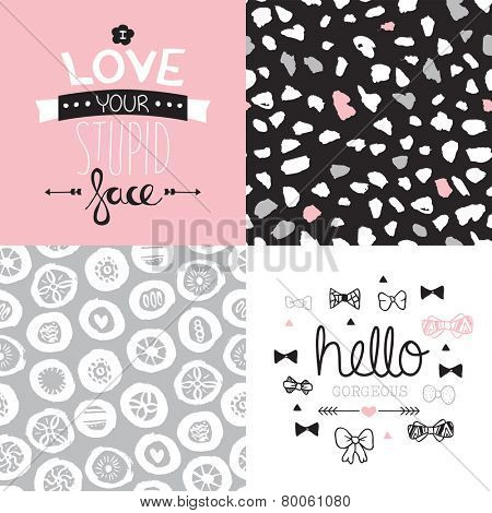 Seamless abstract flower hearts and dots background pattern illustration and love and gorgeous postcard cover text design in vector Valentines collection