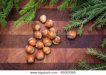 Wood background with hazelnuts and fir tree
