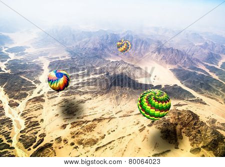 View From The Heights Of Flying Over Mountains Hot Air Balloons