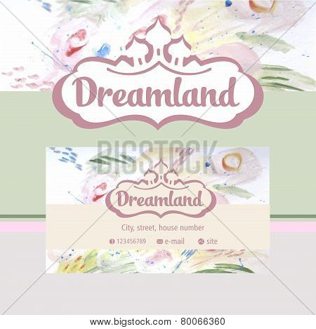 Vector logo and identification. Business card, banner. Perfumes and cosmetics. Dreamland. Floral fra