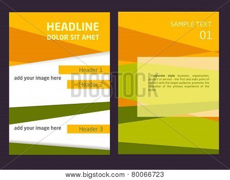 Brochure Flyer design vector template in A4 size. Orange and green abstract background