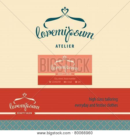 Vector logo, business card and banner for atelier.