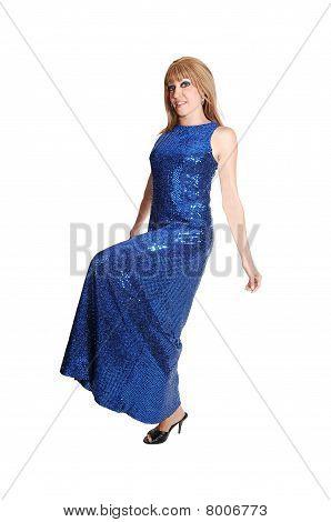 Girl In Long Dress Standing.