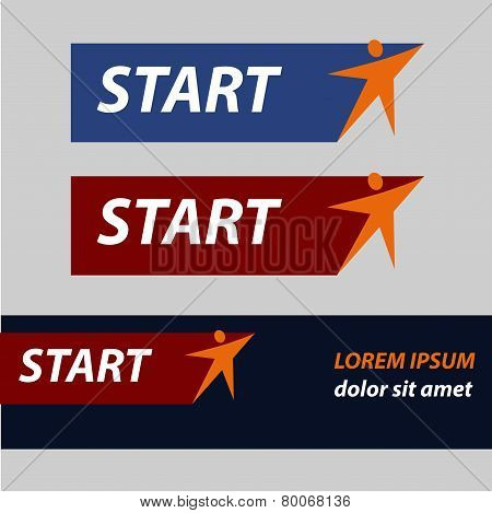 Start and finish, vector sticker, button An image with a star similar to the human figure.