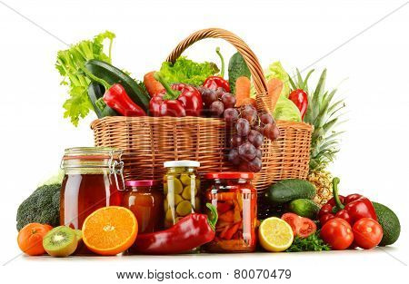 Wicker Basket With Groceries Isolated On White