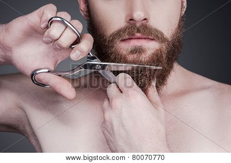 Cutting His Perfect Beard.
